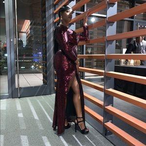 Full sequin Burgundy Gown worn 1x